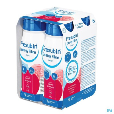 FRESUBIN ENERGY FIBRE DRINK AARDBEI FL 4X200ML