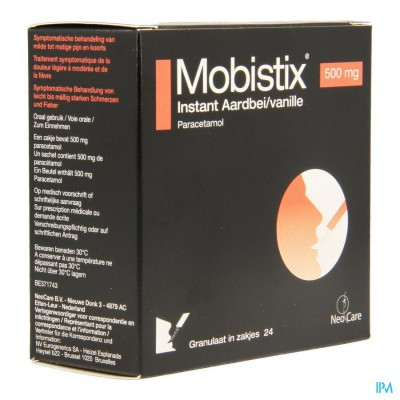 Mobistix Instant Aardbei Vanille 500mg Gran Zak 24