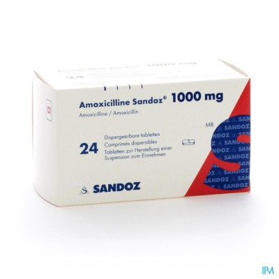 AMOXICILLINE SANDOZ 1000 MG TABL DISP 24